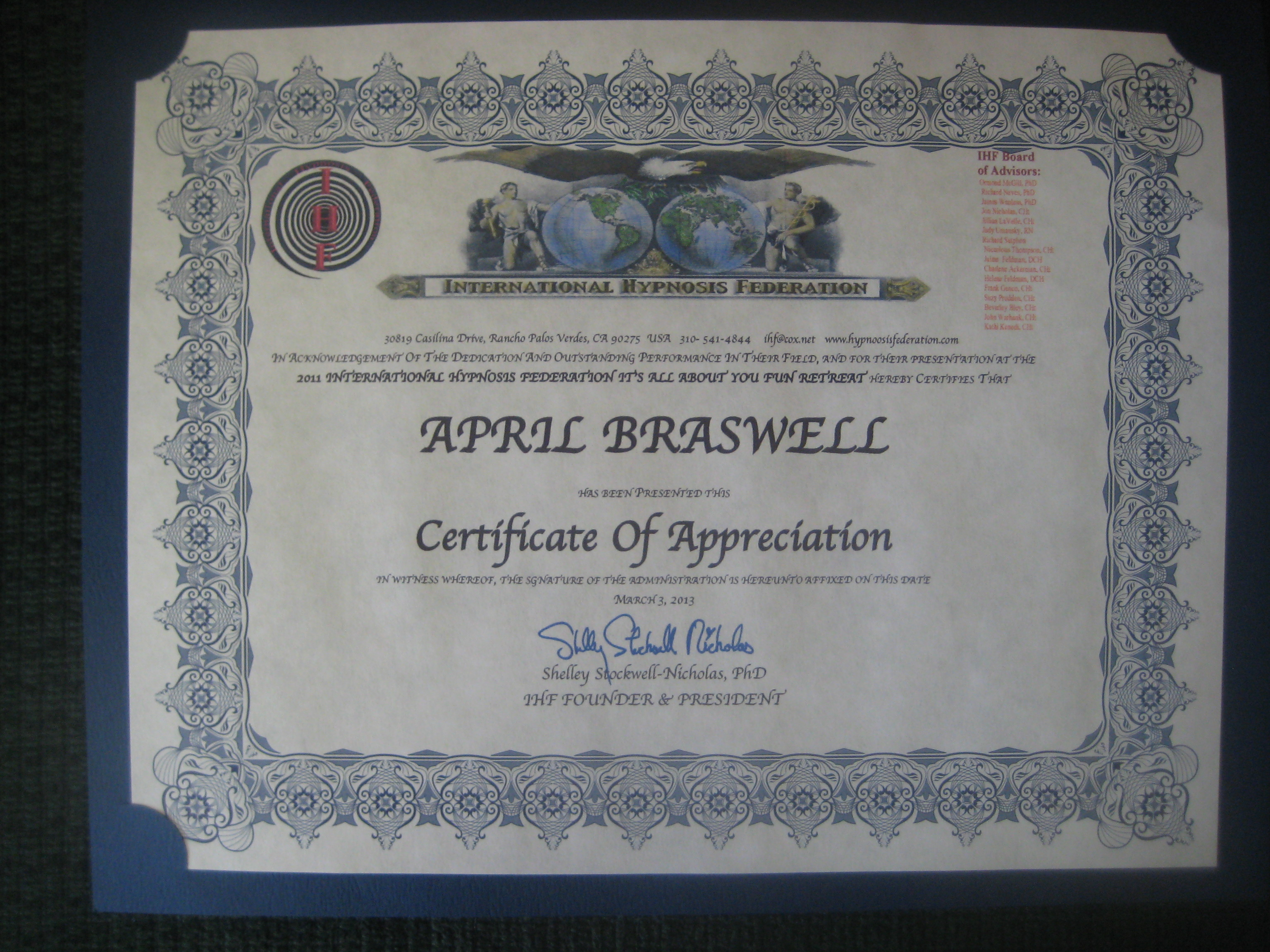 IHF certificate of hypnosis appreciation